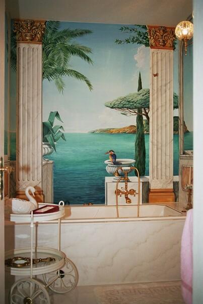 Trompe L Oeil Malerei schnetzer wandmalerei badezimmer wandmalerei galerie
